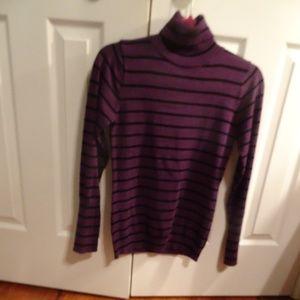 Grane Womens' Purple Striped Turtle Sweater Size M